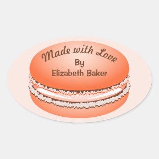 ポップアートの名前入りなオレンジMacaronのクッキー 楕円形シール