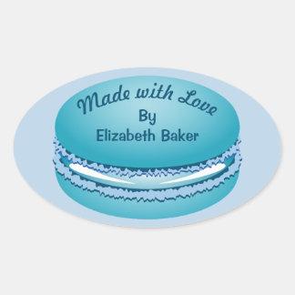 ポップアートの名前入りな青いMacaronのクッキー 楕円形シール