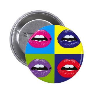ポップアートの唇パターンDeisgn 5.7cm 丸型バッジ