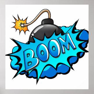 ポップアートの喜劇的なスタイルの爆弾ブーム! ポスター