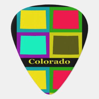 ポップアートの地図カラフルなコロラド州 ギターピック