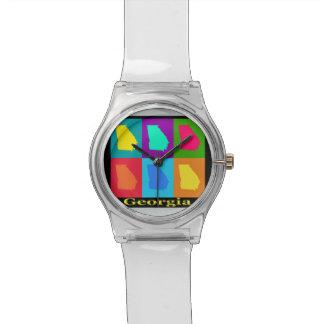 ポップアートの地図カラフルなジョージア州 腕時計