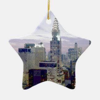 ポップアートの油性ペイントの効果ニューヨーク セラミックオーナメント