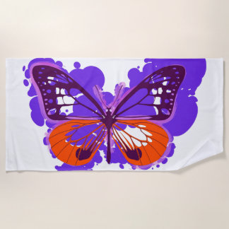 ポップアートの紫色の蝶ビーチタオル ビーチタオル