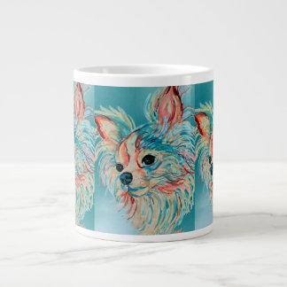 ポップアートの長い髪のチワワのマグ ジャンボコーヒーマグカップ