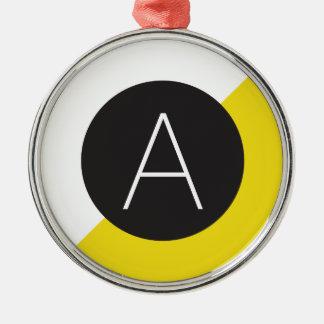 ポップアートの黄色のイニシャルのモノグラム メタルオーナメント
