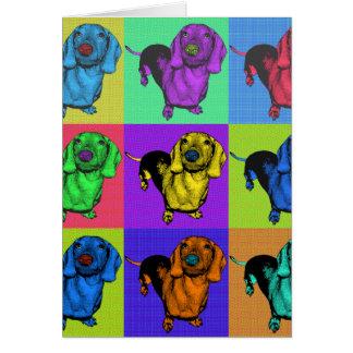 ポップアートのDachsund Doxieは多色刷りのPopartにパネルをはめます カード