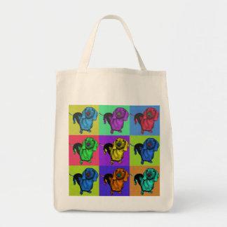 ポップアートのDachsund Doxieは多色刷りのPopartにパネルをはめます トートバッグ