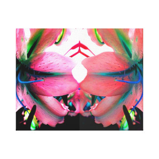 ポップアートのLillyの珍しく明るい映された花 キャンバスプリント