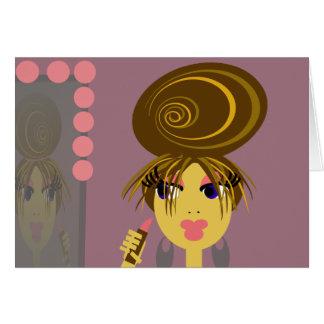 ポップアートのNotecard-の空白のな女性の顔 カード