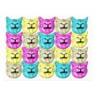ポップアート色猫 ポストカード