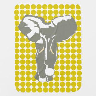 ポップアート象が付いている金ケシのサファリの点 ベビー ブランケット