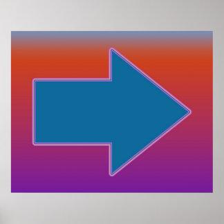 ポップアート赤上の右の青への矢 ポスター