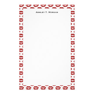 ポップアート: 赤い口紅のキス 便箋