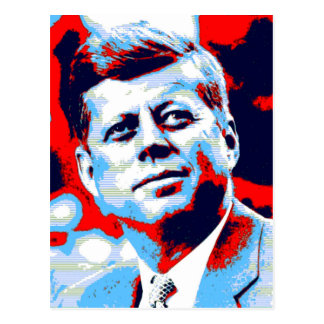 ポップアートJFK John F Kennedyの赤い青 ポストカード