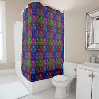 ポップ・アートのなハチドリ シャワーカーテン