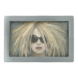 ポップ・アートのなパンクのGrrrlのモダンな絵画の女性ポートレート 長方形ベルトバックル