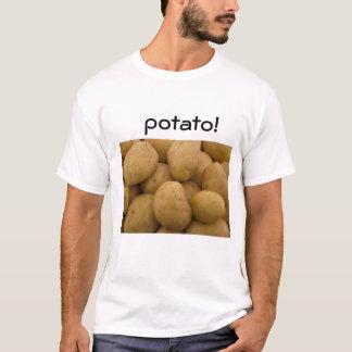 ポテトが付いている白いTシャツ! Tシャツ