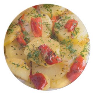 ポテトの菜食主義皿の意見の上で閉めて下さい プレート