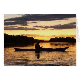 ポトマック川の日没のKayaker カード