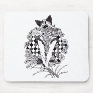 ポニーテールと猫耳ペン画(Pen drawing cat ears and ponytail) マウスパッド