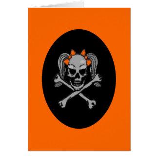 ポニーテールのスカルのデカールのオレンジ カード