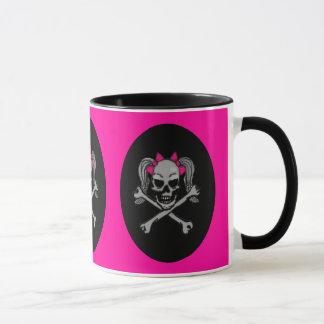 ポニーテールのスカルのデカールのピンク マグカップ