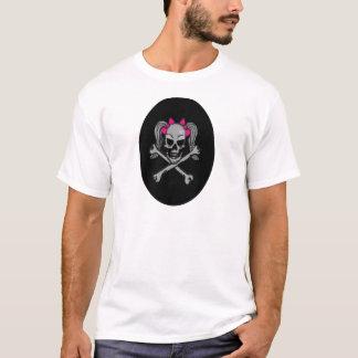 ポニーテールのスカルのデカールのピンク Tシャツ