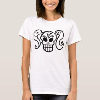 ポニーテールのスカルの女の子 Tシャツ