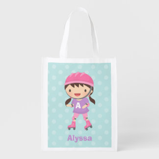 ポニーテールの買い物袋を持つかわいいスケート選手の女の子 エコバッグ