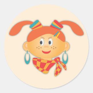 ポニーテールを持つ女の子 丸形シールステッカー
