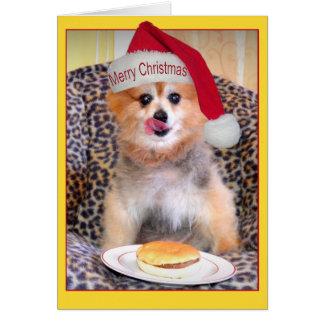ポメラニア犬のクリスマスのハンバーガー カード
