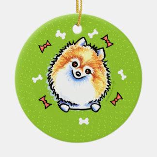 ポメラニア犬のクリスマスのリース セラミックオーナメント