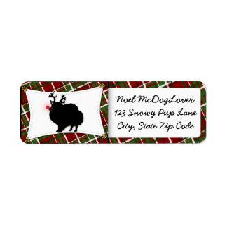 ポメラニア犬のクリスマス ラベル