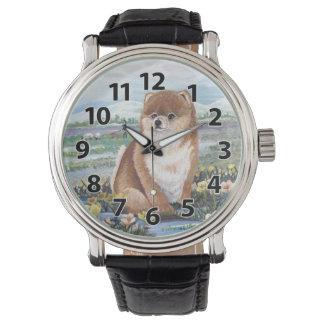 ポメラニア犬の子犬の夢みる人の腕時計 腕時計