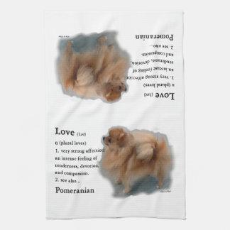 ポメラニア犬の恋人のギフト キッチンタオル