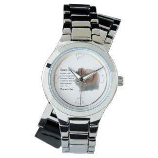 ポメラニア犬の恋人のギフト 腕時計
