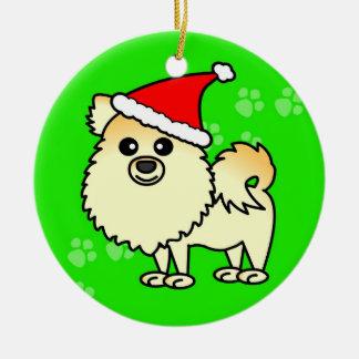 ポメラニア犬の漫画のサンタのかわいい帽子 セラミックオーナメント