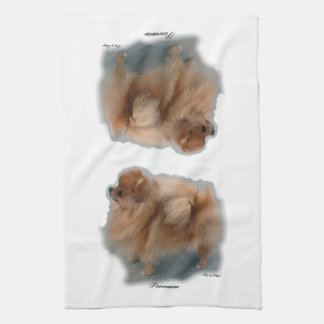 ポメラニア犬の芸術のギフト キッチンタオル