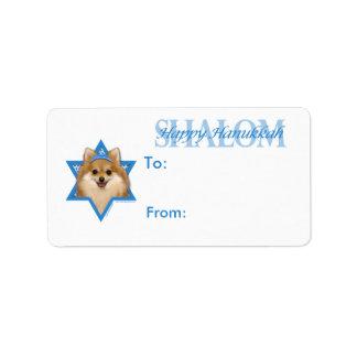 -ポメラニア犬ハヌカーのダビデの星 ラベル