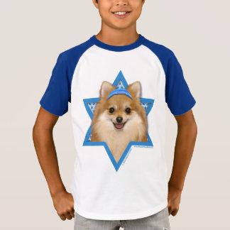 -ポメラニア犬ハヌカーのダビデの星 Tシャツ