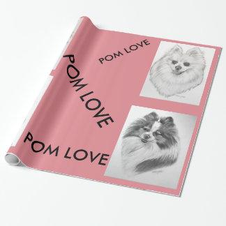 ポメラニア犬愛包装紙のオリジナルのアートワーク ラッピングペーパー