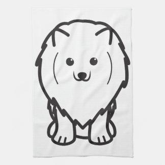 ポメラニア犬犬の漫画 キッチンタオル