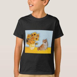 ポメラニア犬3 -ヒマワリ Tシャツ