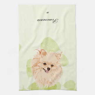 ポメラニア犬-緑の葉のデザイン キッチンタオル