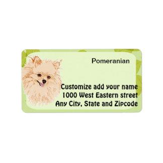 ポメラニア犬-緑の葉のデザイン ラベル