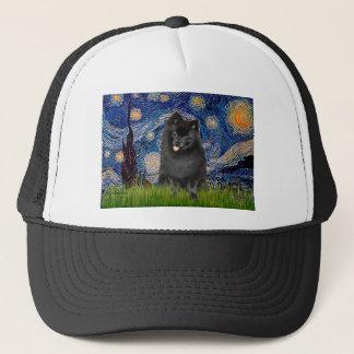 ポメラニア犬(黒) -星明かりの夜 キャップ