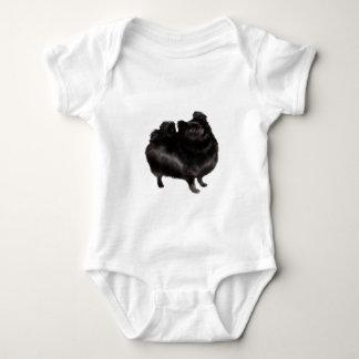 ポメラニア犬-黒(立場) ベビーボディスーツ