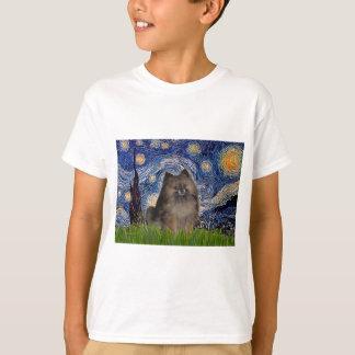 ポメラニア犬(parti3) -星明かりの夜 tシャツ