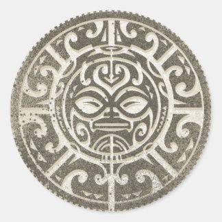 ポリネシアの種族の顔ブラウン ラウンドシール